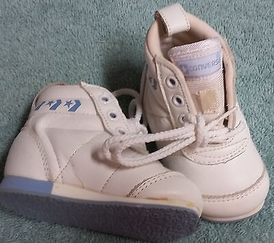 Converse New Born Crib Booties Boys White Blue Leather Baby Shoes Infant Size 1