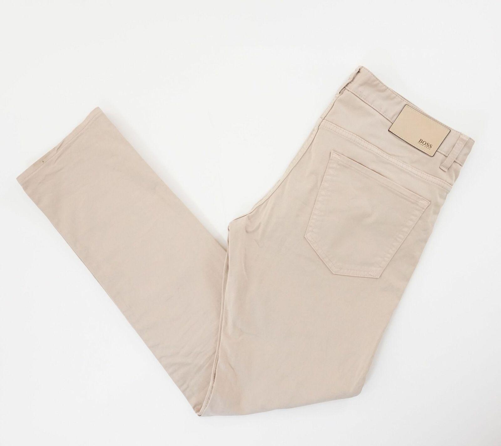 HUGO BOSS Jeans Hose Delaware3-1-20 W33 L32 33/32 beige gerade Gabardine E2585
