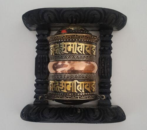 """Tibetan Om Mani Mantra Wall Hanging Prayer Wheel 6"""" - Nepal"""