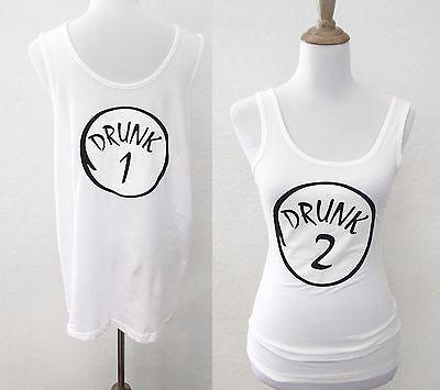 Drunk 1 & 2 Halloween Matching Couple Shirts Men Women Funny Silly Tank Top  - Drunk Halloween Costumes