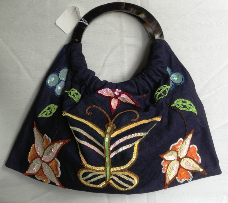 NWT - Handmade Horn Ring Handles canvas tote hobo style handbag