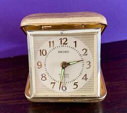 "Vintage Seiko Travel Alarm Clock Square 3"" Gold Tone 2 Jewels"
