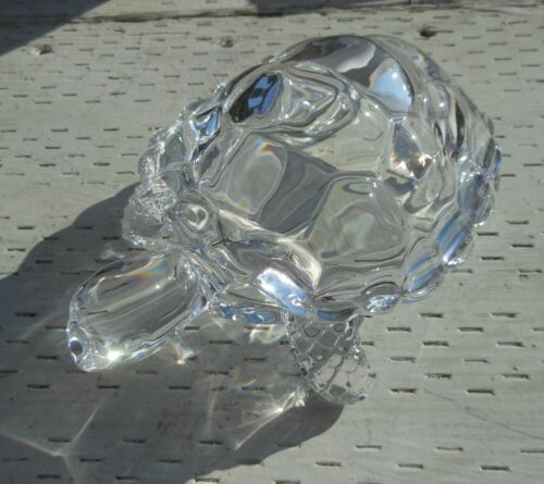 """Glass Turtle Figurine Clear Large 7 by 5"""""""