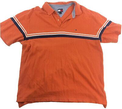 Vintage Tommy Hilfiger Mens Polo Shirt Orange Striped Cotton Short Sleeve 2XL