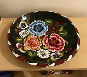 MOVING SALE HAND PAINTED FLOWER WOOD PLATTER BOWL AND MORE