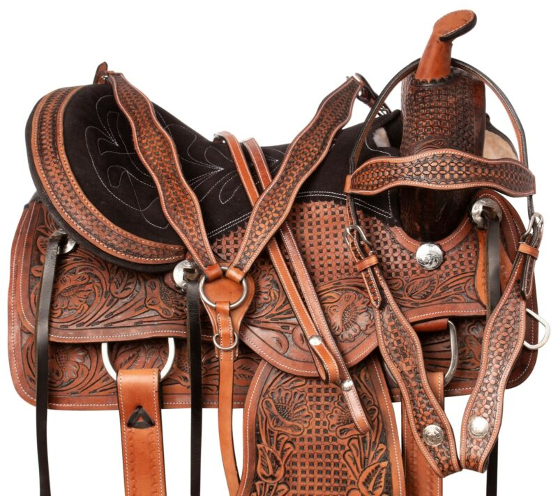 WESTERN TRAIL BARREL RACING HORSE LEATHER SADDLE TACK SET 16 17 in