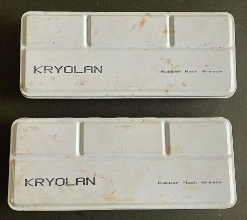 2 Partially Used Tins of Kryolan Rubber Mask Grease Paint