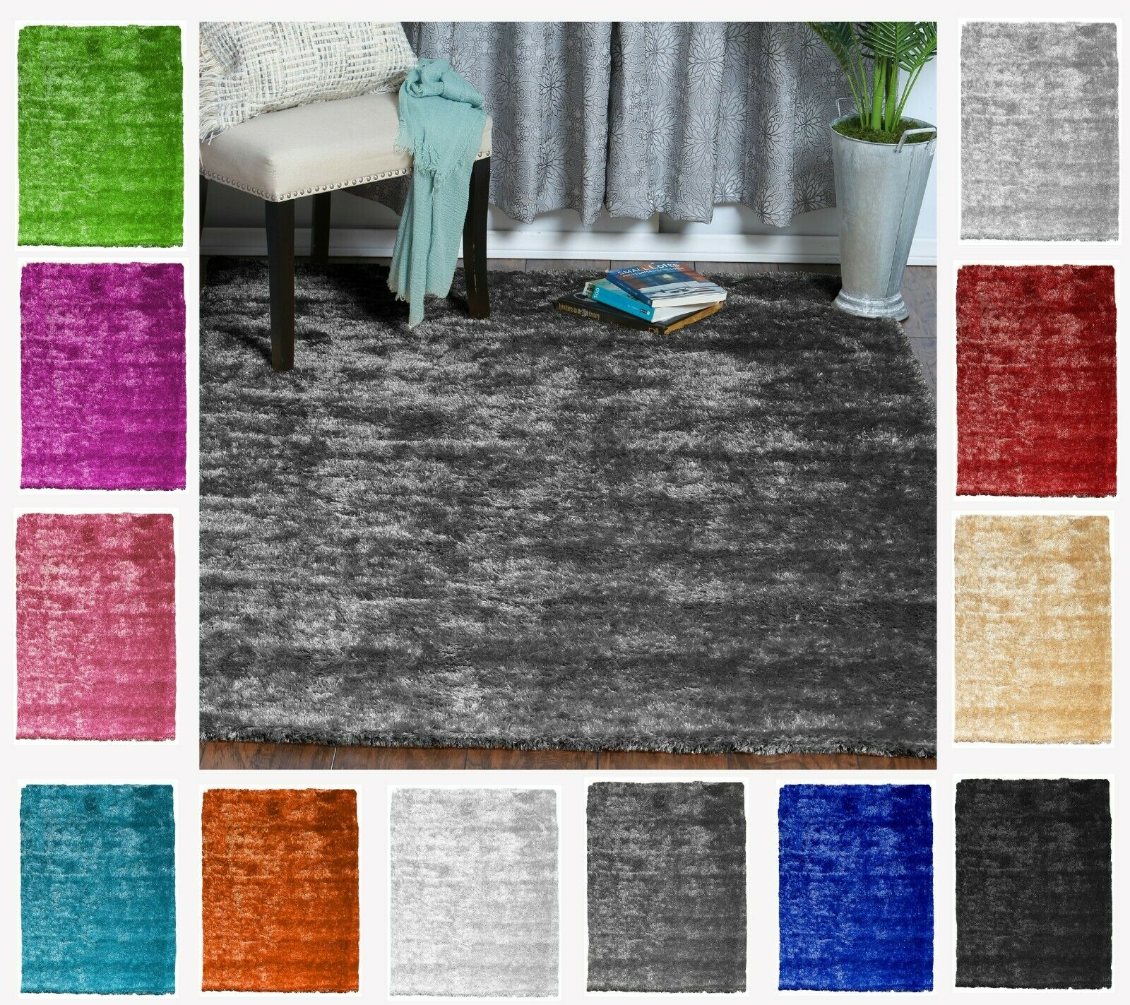 Reversible Soft Solid Shag Shaggy Area Rug for Living Room a