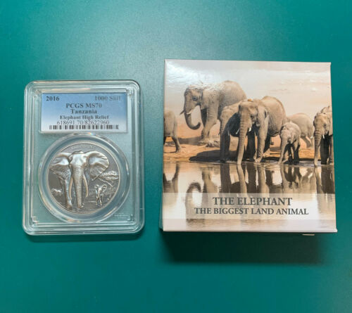 2016 - Tanzania 1000 Shillings - 1oz .999 Silver ELEPHANT PCGS MS70 With All OMP