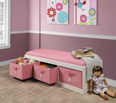Kids Toys Organizer Storage Padded Bench 3 Bins Toy Box Pink Chest Wooden Trunk Storage Toy Box Bench