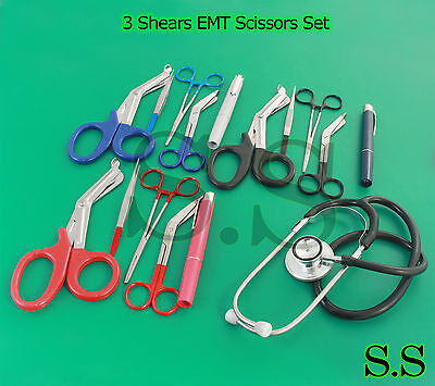 3 Set Colormed Holster Ems Emt Diagnostic Surgical Inst