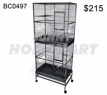 Extra Large Stand-Alone 2 Level Parrot Aviary Canary Bird Cage