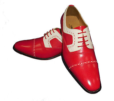 Liberty LS1000 Mens Classic Perforated Spectator Spats Dress Shoes Red White