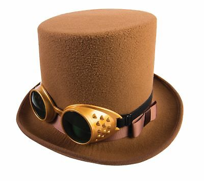 Steampunk Brown Topper Top Hat and Goggles Halloween Adult Men Costume - Top Hat And Goggles