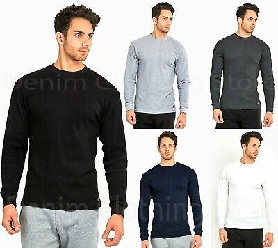 Mens 100% Cotton THERMAL TOP Crew Neck Long Sleeve Shirts Un