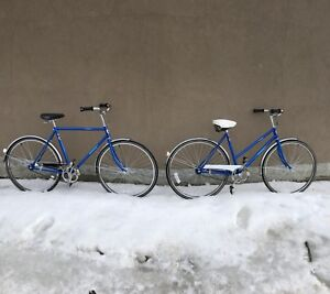 Matching His and Hers Vintage Single Speed City Cruiser Bikes