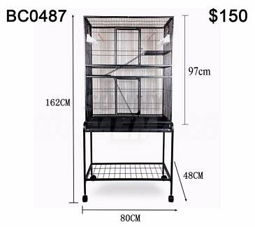 Large Stand-Alone Parrot Aviary Budgie Canary Bird Rat Cage 162CM