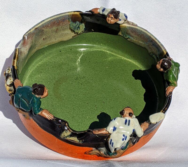 Antique Japanese Sumida Gawa Glazed Pottery Bowl, Meiji Era, Signed