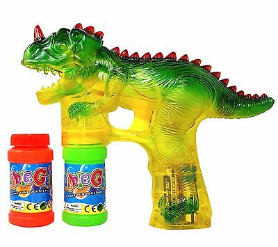 Haktoys Dinosaur Bubble Shooter Gun, LED Lights, Bonus Bottle Refill & Batteries