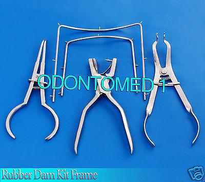 Rubber Dam Kit Frameainsworth Punchivory Forcepstoke Clamp Endodontic Dn-472