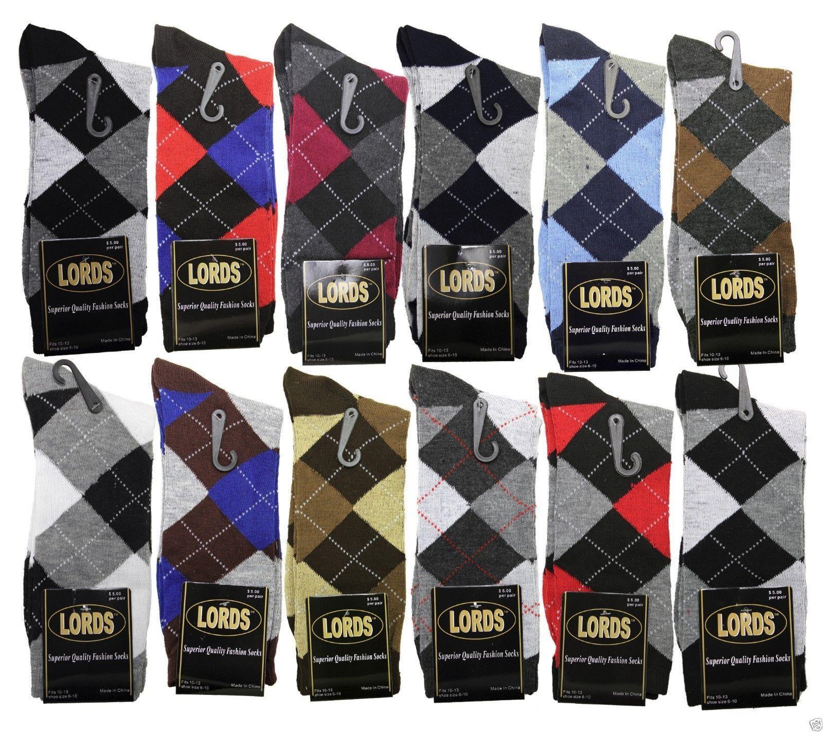 12 Pairs/1 Dozen Men Argyle Diamond Dress Socks Multi Color