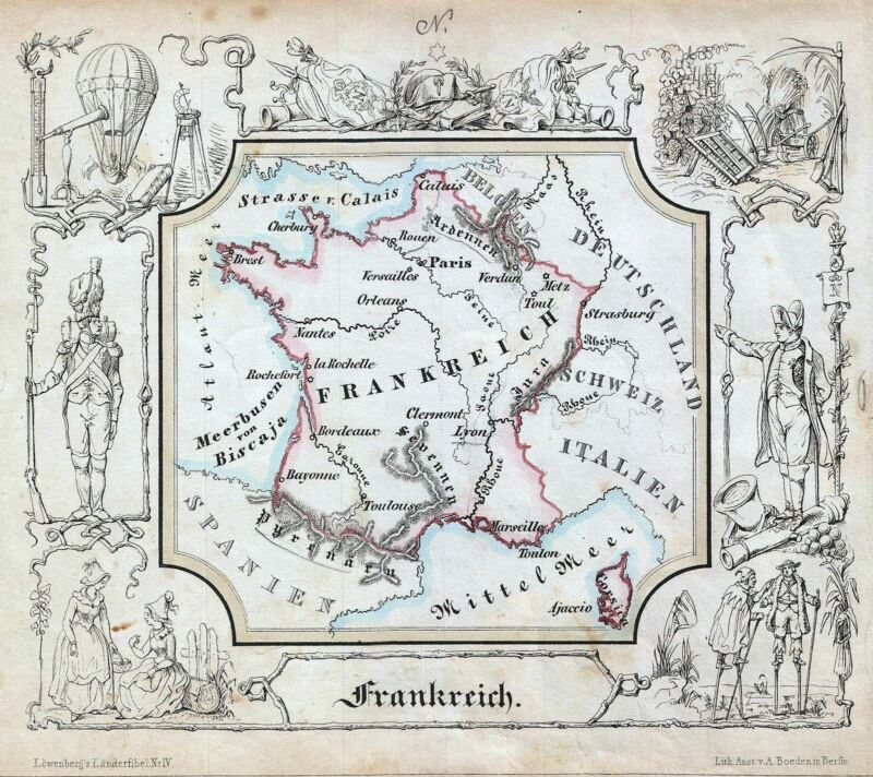 1846 Lowenberg Whimsical Map of France
