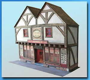 Edwardian Shop In A Tudor Building 7mm Scale Card Model Kit Ideal For O Gauge.