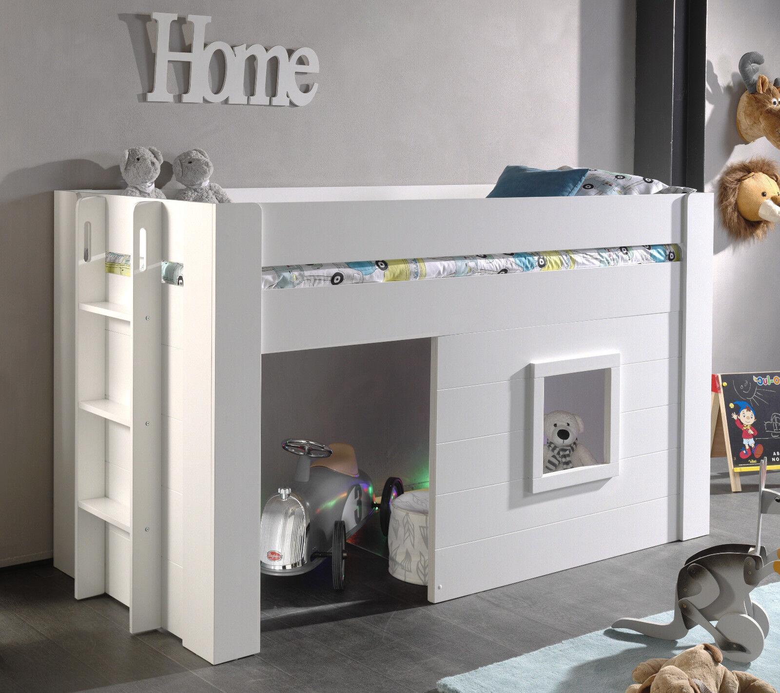 "Vipack: Halbhohes Spielbett ""NOAH"" 90 x 200 - Hausbett Hochbett Kinderbett  Weiß"