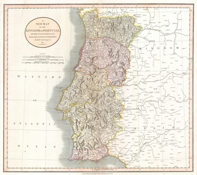 1811 Cary Map of the Kingdom of Portugal