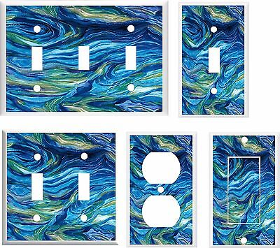 OCEAN WAVES ABSTRACT LIGHT SWITCH COVER PLATE  U PICK  SIZE AND STYLE ()