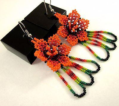 "Huichol Beaded Earrings 3.25""L Mexican Handmade Folk Art Peyote Ethnic Jewelry"