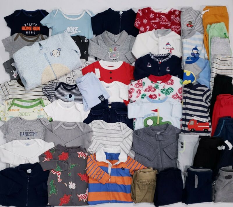 Baby Boys Size Newborn 0-3 Months Clothes Lot 48 Pc Shirts Pants Sleepers Pjs