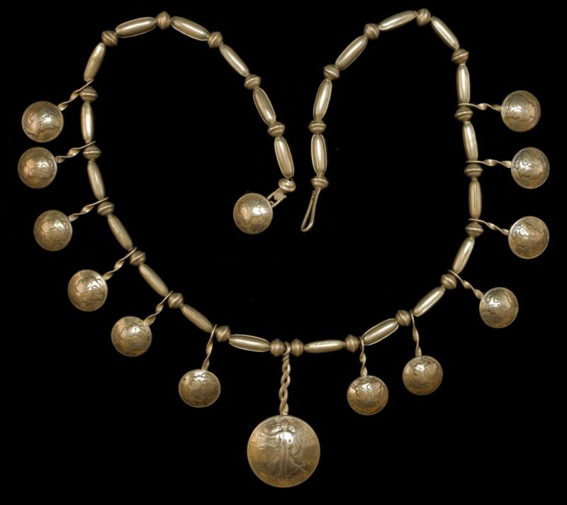 Vintage Sterling and Coin Squash Blossom  Necklace