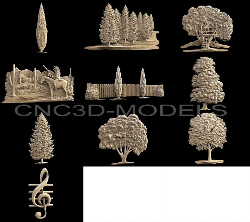3D STL Models for CNC Router Carving Artcam Aspire Wood Tree Forest 1152