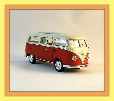 1963 VOLKSWAGEN T1 BUS ,METALLIC ORANGE WELLY 1/32 DIECAST CAR COLLECTORS MODEL
