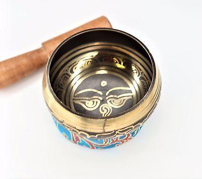 """Tibetan Singing Bowl Buddha Eyes Gulpa Design 7 Metal 3.5"""""""