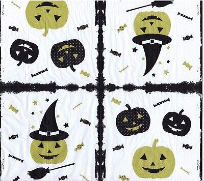 Citrouilles Halloween (4 SERVIETTES EN PAPIER HALLOWEEN CITROUILLES. 4 PAPER NAPKINS HALLOWEEN PUMPKIN)