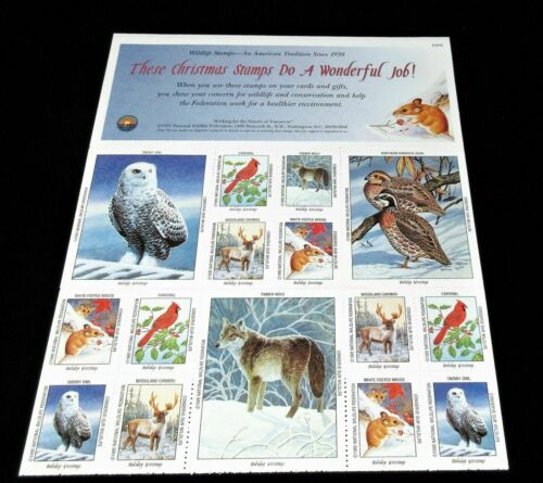 CHRISTMAS 1995 NWF NATIONAL WILDLIFE FEDERATION Christmas Stamps, MINT SHEET