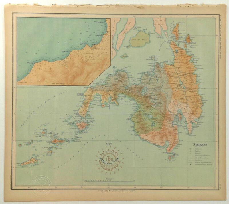 1899 Official US Navy Map Philippine Islands Isla Mindanao Jolo Basilan Saccal