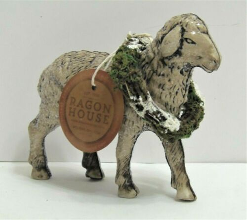PRIMITIVE COUNTRY SHEEP LAMB WITH WREATH FIGURINE RAGON HOUSE NEW