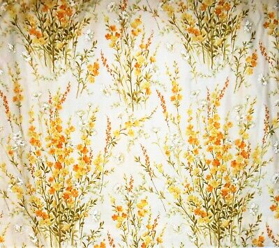 Curtains Drapery 2 Pinch Pleat Panels Lined Floral Yellow Ivory Green 82 X 82 Pinch Pleated Drapery