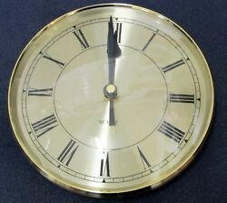 BRAND NEW 6 1/4  CLOCK MOVEMENT INSERT  (POP-IN)  OFF GOLD  COLORED DIAL