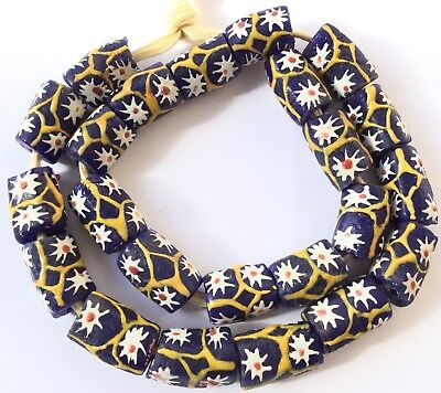 - Ghana handmade Cobalt Blue Recycled glass African trade beads