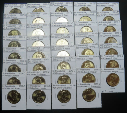 2007-2016 Presidential Golden Dollars, 1 Ea Complete 39 Coin Set From Mint Rolls