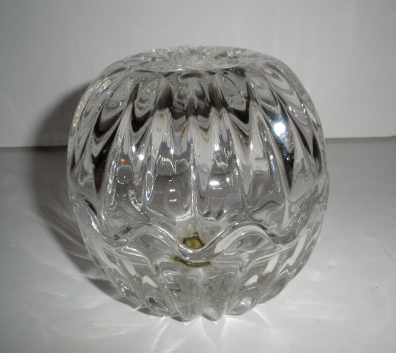 Vintage Lead Crystal Small Egg Two Piece Ribbed Dish Rounded Zajecar Yugoslavia