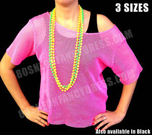 80s Retro String Mesh Net Vest Top Neon Pink, Neon Green or Black S-XXL (6-20)