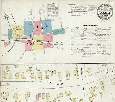 Adams, New York~Sanborn Map©~sheets ~25 maps in color high resolution~1884-1911