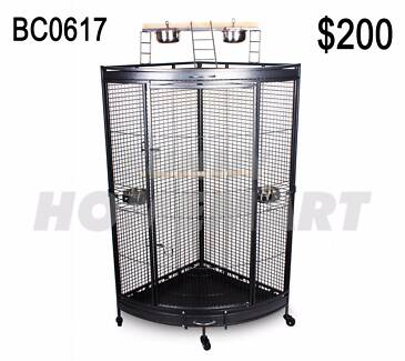 Large Corner Parrot Aviary Bird Cage With Play Roof Top Ladder