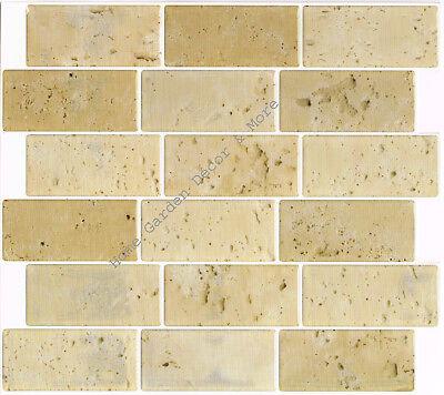 (Peel Stick Wall Tile Kitchen Bathroom Backsplash Natural Beige Stone Travertine)