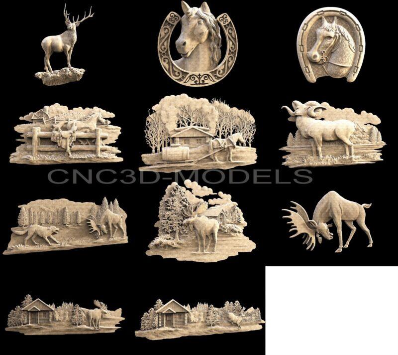 3D STL Models for CNC Router Artcam Aspire Collection Deer Animal Hart Buck 1472